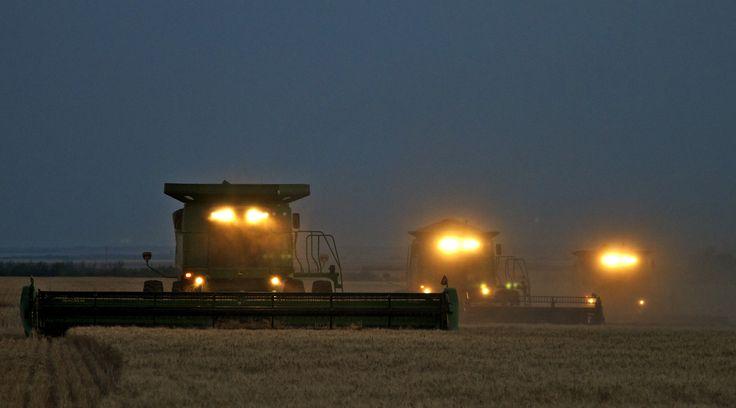 John Deere Combines In The Field At Night