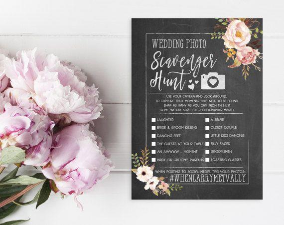 Wedding Photo Scavenger Hunt - Printable I Spy Cards