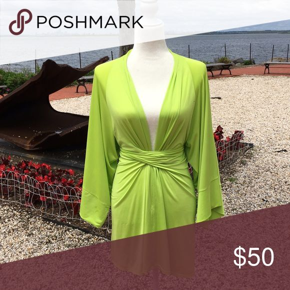 Kimono Neon Green Dress Soft and elegant kimono dress with a touch of sexy and neon color Vintage Dresses Long Sleeve