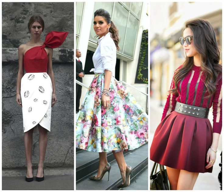 Skirts perfect for the hourglass figure. Floral midi skirt, red mini skirt, white skirt with floral print. Black pumps. Learn how to dress your hourglass figure >>> http://justbestylish.com/how-to-dress-the-hourglass-figure/2/