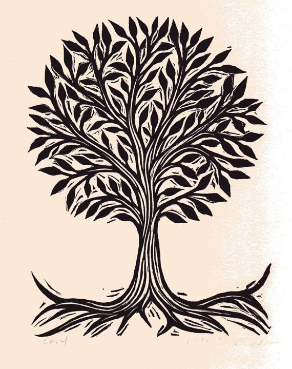 Hand-printed linoleum block art print    This lovely tree is hand carved from lino-block and printed on an antique 1909 Chandler & Price letterpress