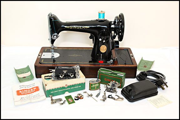 Singer 201K sewing machine with accessories