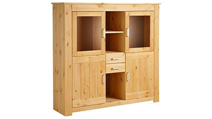loft24 bruno highboard vitrine vitrinenschrank standvitrine schrank wohnzimmer kiefer massiv natur gebeizt geolt wohnzimmer ideen