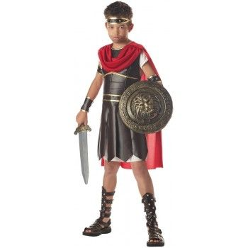 Boys Hercules Roman Warrior Costume with tunic, armour, red cape, headband and arm guards!