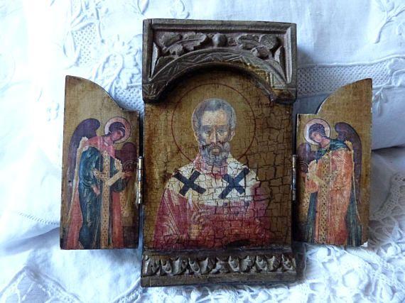 ♠› #Antique #French religious triptych travel icon wooden #devotional religi... http://etsy.me/2ibJuMo