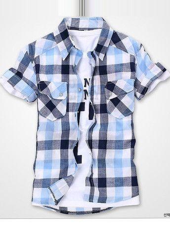 Pockets Design Turndown Collar Short Sleeve Plaid Shirt – teeteecee - fashion in style