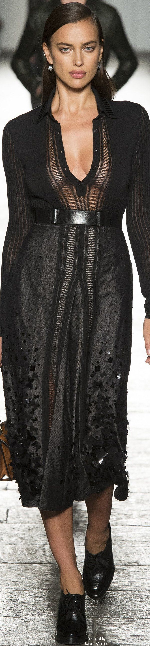 Bottega Veneta Spring 2017 RTW #Dress Longue Noire #black transparency