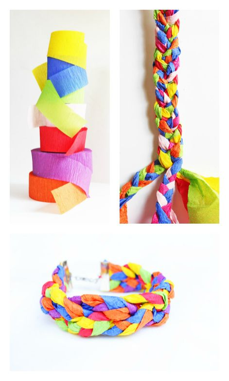 Learn how to make bracelets using crepe paper streamers!