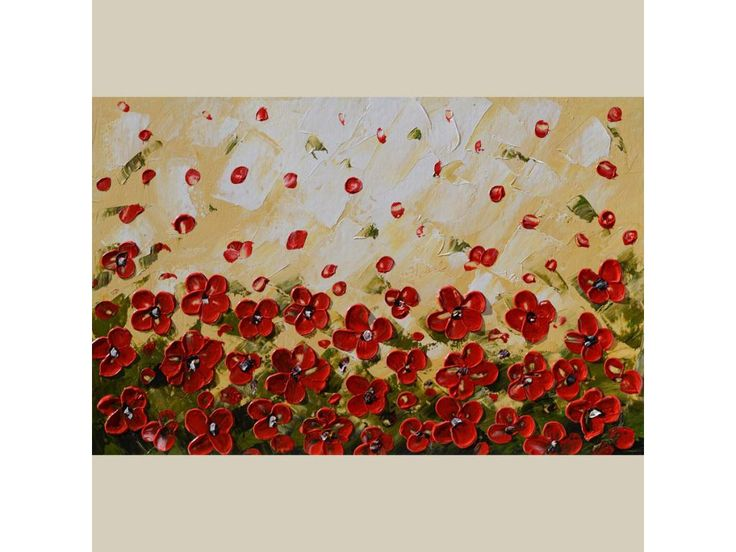 ORIGINAL Oil Painting Blown Away 23 x 36 Colorful Modern Contemporary Office Home decor Flowers Palette Knife Texture Romantic Abstract Red Gold White Field  ART by Marchella Piery