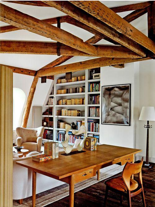 Pierre Yovanovitch interior/apartment, Paris: Hans J. Wegner writing desk and Flemming Lassen easy chair (far back). / Pierre Yovanovitch