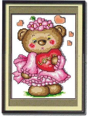 Valentine Bear Kit - X Squared Cross Stitch