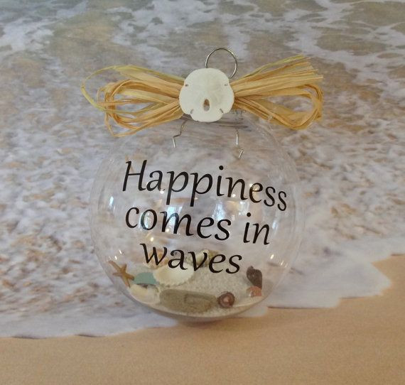 Beach Christmas Ornament - Great idea to make one for each beach you've traveled to with sand and shells from that beach.                                                                                                                                                      More