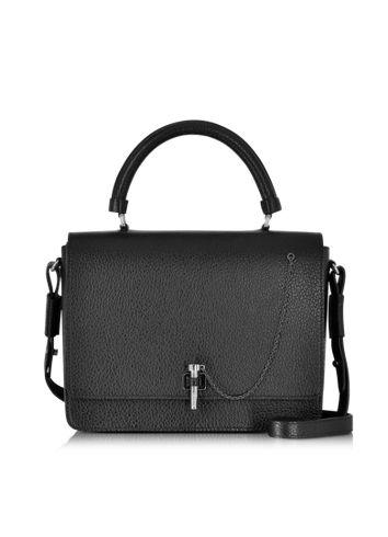 Carven+Malher+Black+Grained+Leather+Handbag
