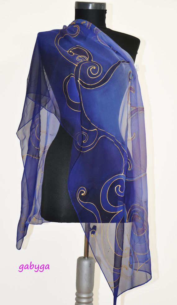 Abstract Hand Painted Silk Scarf Shawl Painted silk by GABYGA