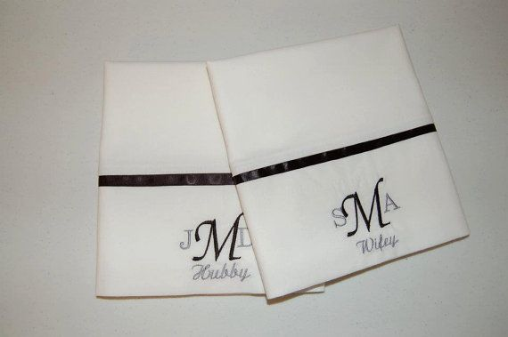 Hubby & Wifey Embroidered pillowcases monogram by SharisThreads