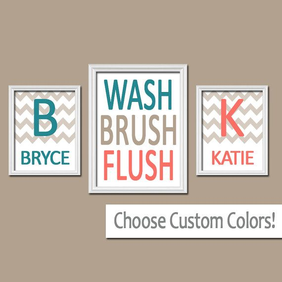 ★Brother Bathroom Canvas or Prints Boy Girl Bathroom Monogram Personalized Name Coral Teal WASH Brush Flush Set of 3 Bathroom Rules  ★Includes 3 pieces