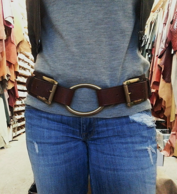 Double Buckle Womens Leather Belt. $85.00, via Etsy.