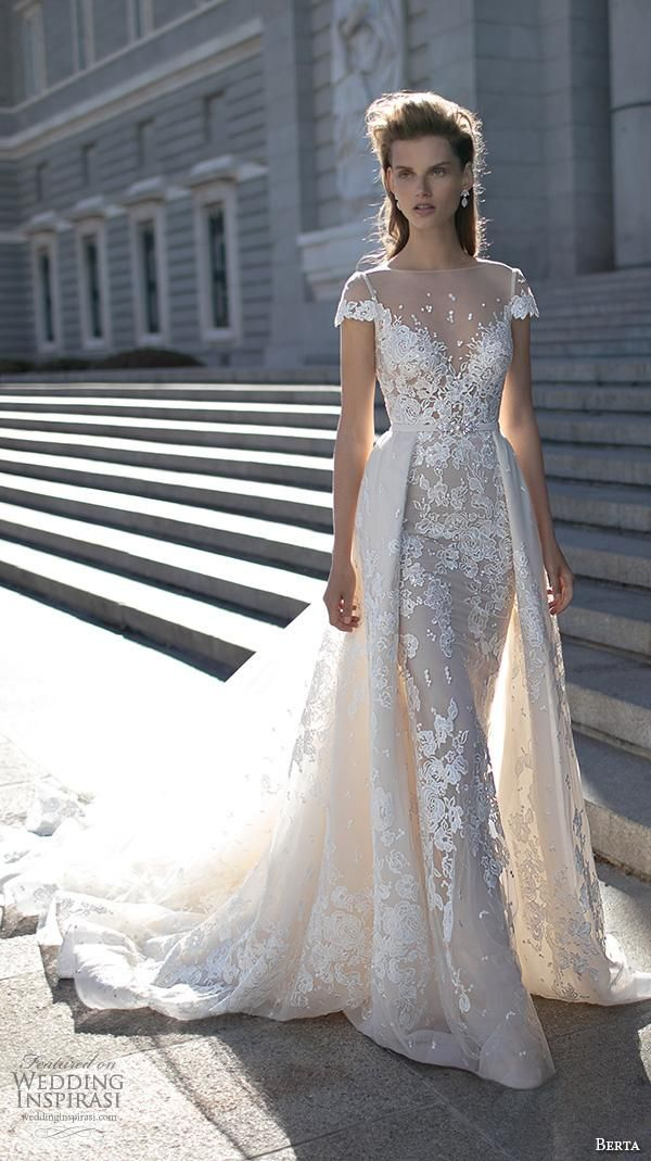 2016 Berta Bridal Over Skirts Wedding Dresses Cape Sleeves Lace Wedding Gowns Illusion Neckline Chapel Train…