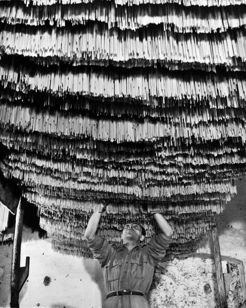 Alfred Eisenstaedt (Tczew, 6 dicembre 1898 – Massachusetts, 24 agosto 1995): Worker at pasta factory inspecting spaghetti in drying room, Torre Annunziata, 1947
