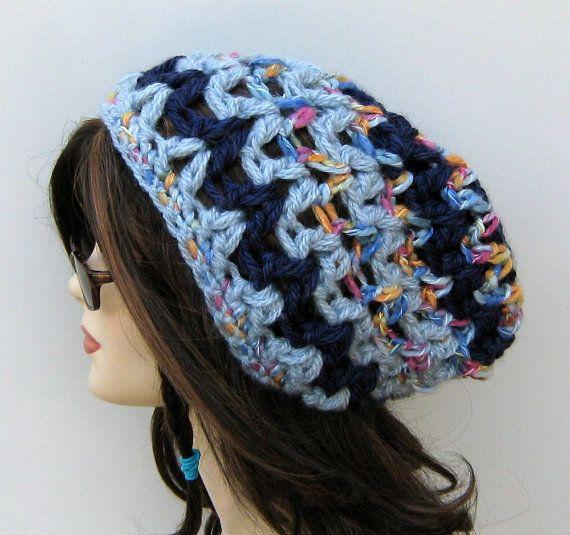 Blue Chunky slouchy beanie BoHo Hippie Hat by PurpleSageDesignz, $ 18.00
