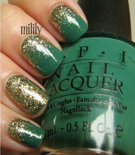 cute green nail! With silver instead of gold