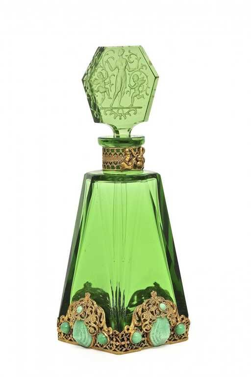 Lot: 1920s Czechoslovakian green crystal perfume bottle, Lot Number: 0067, Starting Bid: $125, Auctioneer: Perfume Bottles Auction, Auction: Perfume Bottles Auction, Date: May 2nd, 2015 EDT
