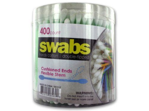 "Double-Tipped Cotton Swabs, Pack of 400 - Case of 96 by Bulk Buys. $99.36. With the 400 swabs in this container, you're sure to have enough for any job. these swabs feature cotton tips on both ends, making these extra useful. The flexible stem ensures that these are useful for a number of applications. While these are a bathroom staple, they are also useful in the kitchen and craft room. Each measures 3"" long."