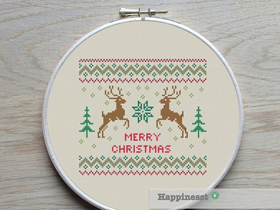 christmas cross stitch pattern merry christmas deer by Happinesst