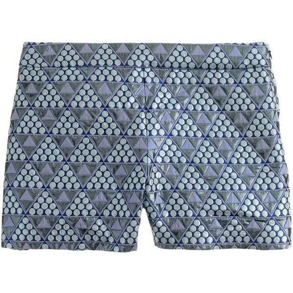 J.Crew Collection Pyramid Brocade Short (518.700 COP) ❤ liked on Polyvore featuring shorts, bottoms, metallic shorts, vintage shorts, j. crew shorts, brocade shorts and side zip shorts