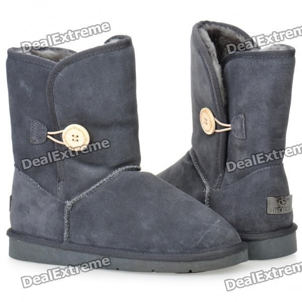 INCOME Women's Casual Cow Leather Winter Warm Snow Boots - Dark Grey (EUR Size-36)