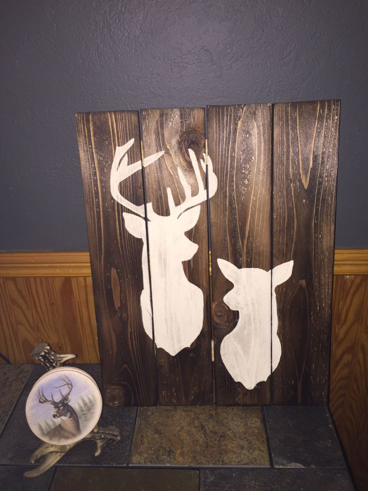 Buck & Doe Deer Head Silhouette Rustic Wood Wall Décor Sign  This is a perfect gift for the hunting, outdoor enthusiasts. This sign can be customized with a last name, established ( Marriage date), initials or anything else that will fit in the lower left hand corner.