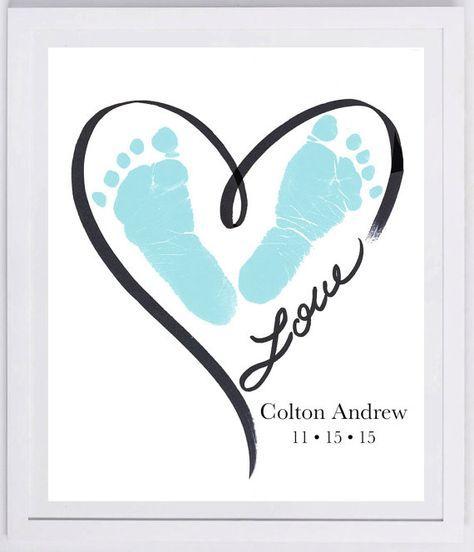 Heart Outline Footprint Wall Art 1200_pap por MyForeverPrints