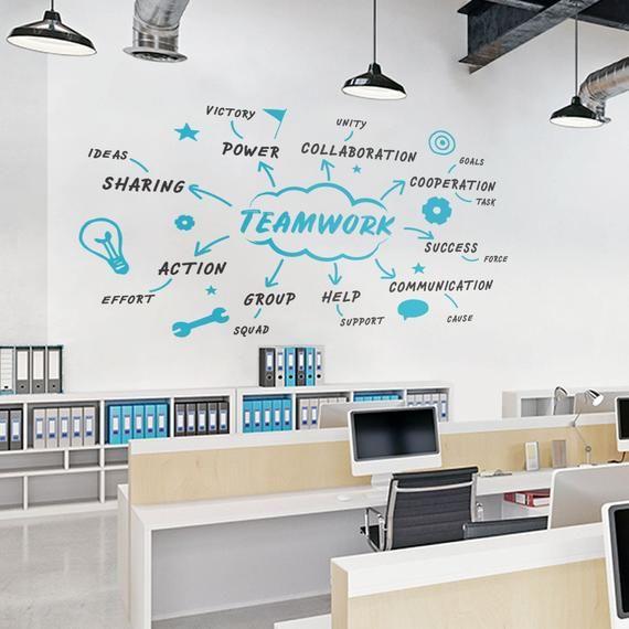 Teamwork Diagram Office Wall Decal Teamwork Decal Office Etsy Office Wall Decals Office Wall Design Office Wall Decor