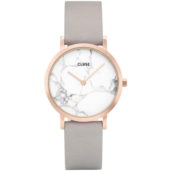 CLUSE CL40103 Women's La Roche Petite Leather Strap Watch, Grey/White... ($170) ❤ liked on Polyvore featuring jewelry, watches, white leather strap watches, white wrist watch, leather-strap watches, slim wrist watch and gray watches