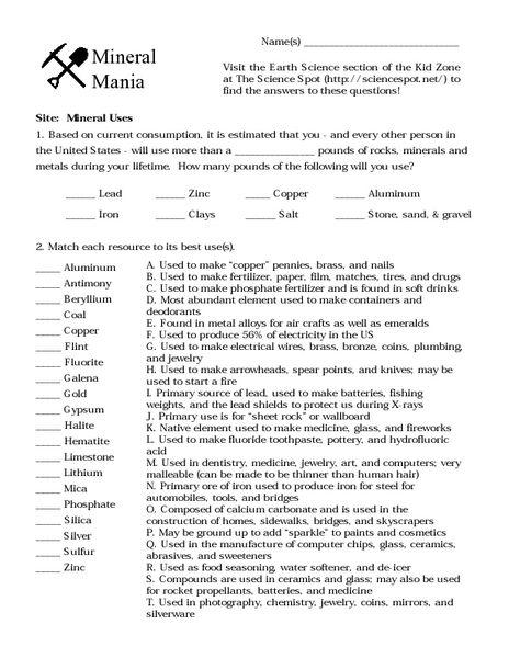 mineral worksheet bloggakuten bio adjective worksheet fractions worksheets budgeting. Black Bedroom Furniture Sets. Home Design Ideas