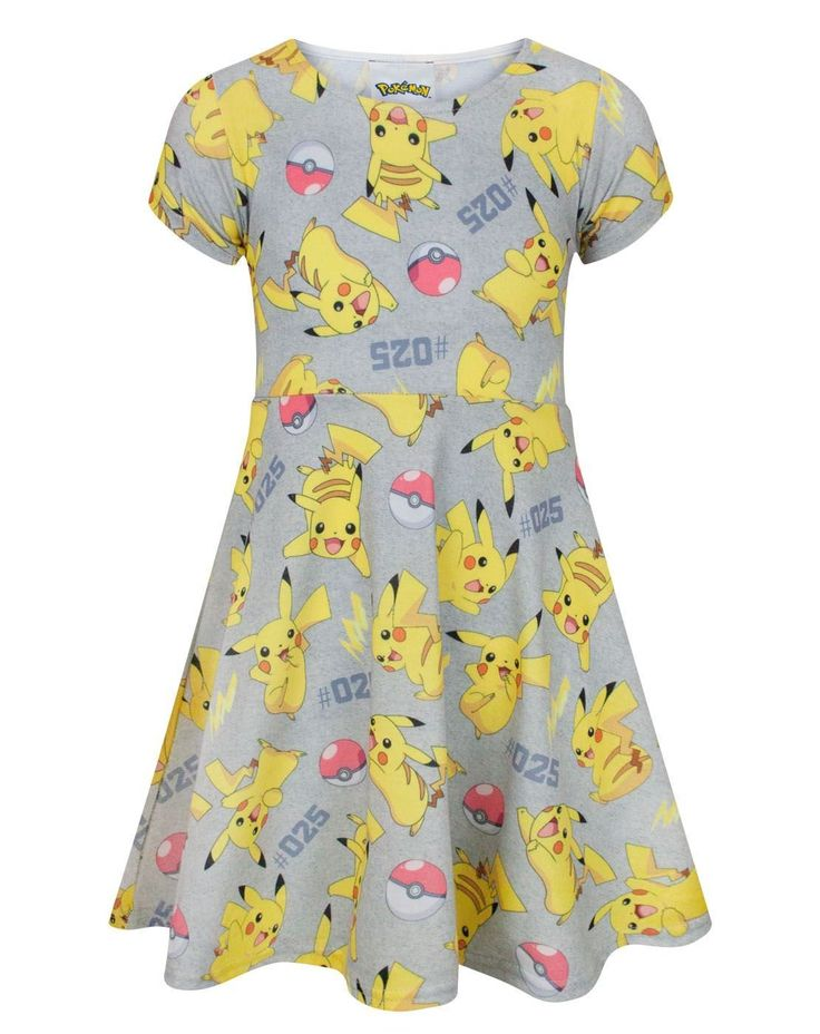 Pokemon Pikachu Girl's Short Sleeved Dress (7-8 Years). Official Pokemon merchandise. Perfect for little Pikachu fans. Distinctive all-over print inspired by Pikachu. Skater styled dress with short sleeves and scoop neck.
