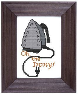 Maybe applique and not cross stitch. Perfect to put on a tote for a travel iron