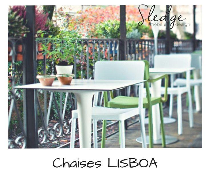 Mobilier de terrasse bar restaurant, chaises empilables de terrasse bar, chaises de terrasse bar Lisboa  www.sledge.fr