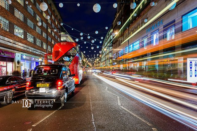 """""""Traffic Rush"""" Oxford Street, London, UK. Image by David Gutierrez Photography, London Photographer. London photographer specialising in architectural, real estate, property and interior photography. http://www.davidgutierrez.co.uk #realestate #property #commercial #architecture #London #Photography #Photographer #Art #UK #City #Urban #Beautiful #Interior #Arts #Cityscape #Travel #Building #Night #Twilight #Street #OxfordStreet"""
