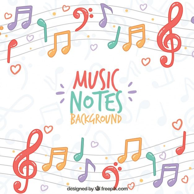 Colorful Background Of Musical Notes On The Pentagram Music Backgrounds Music Notes Background Colorful Backgrounds