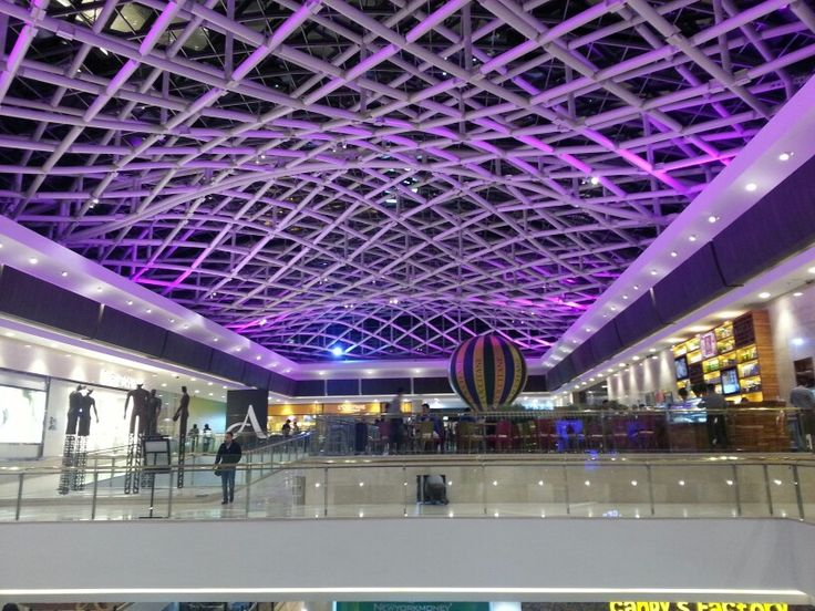 centro Andino.  glass roof with metal support structure