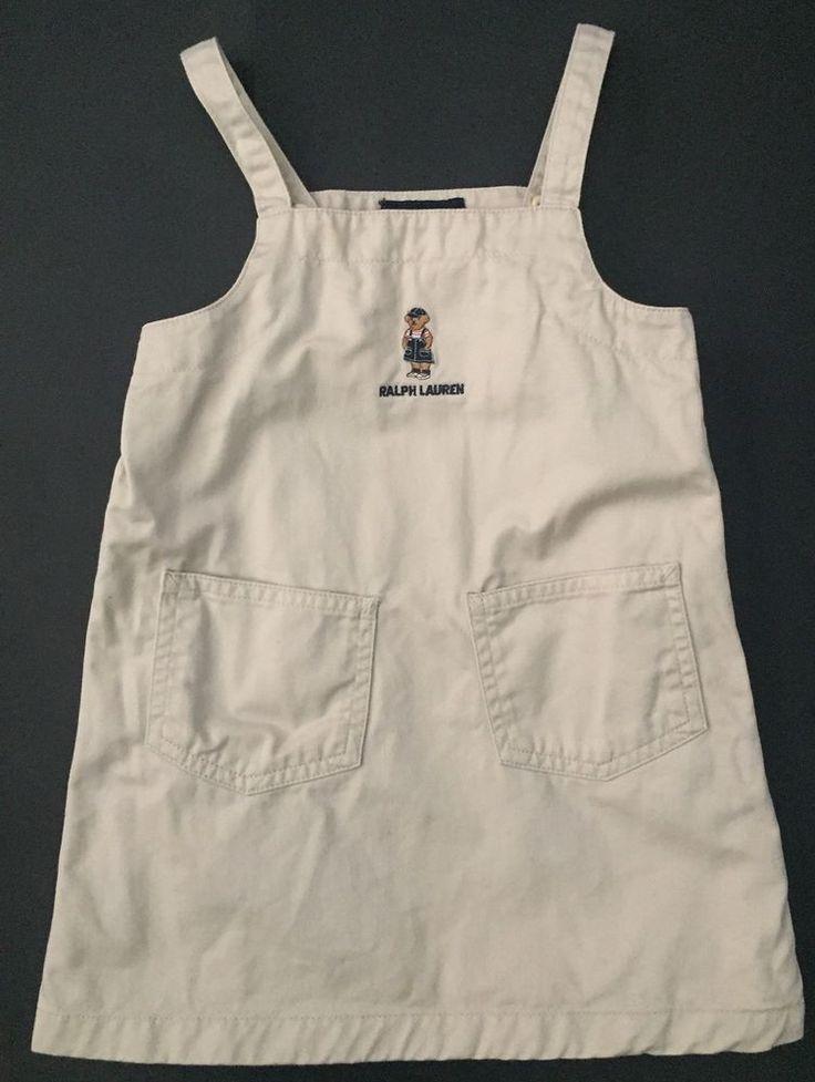 Ralph Lauren Beige Jumper Dress 3T Teddy Bear Logo Pockets Bibbed Side Snaps #RalphLauren #Jumper #Casual