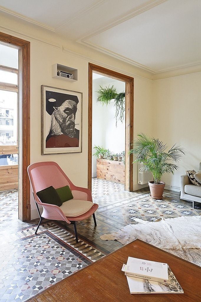 Painting:the Finnish printmaker Kuutti Lavonen's Lithography (or other print method) - Apartment Refurbishment by Anna & Eugeni Bach