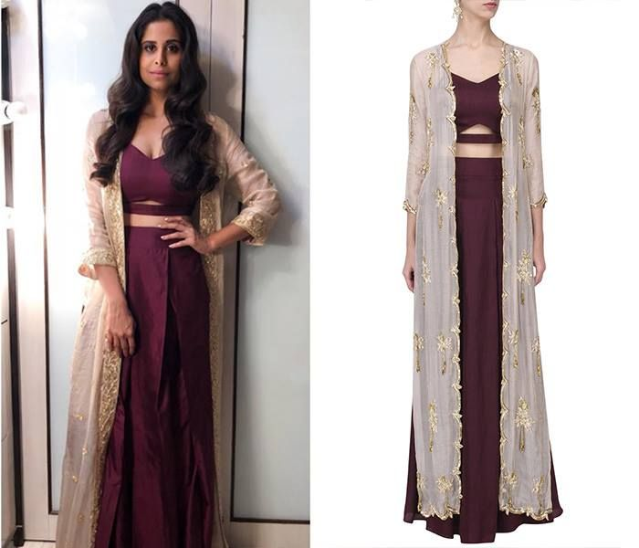 GET THE LOOK! Sai Tamhankar looks elegant in Marsala Croptop and Skirt with Embroidered Jacket by PLEATS Shop now!  #saitamhankar #pleatsbykakshanddimple #marsla #embroidery #croptop #skirt #jacket #getthelook #celebritystyle #bollywoodfashion #shopnow #perniaspopupshop #happyshopping