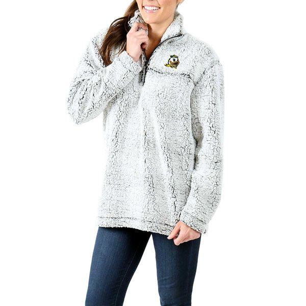 Oregon Ducks Women's Sherpa Super Soft Quarter-Zip Pullover Jacket - Gray