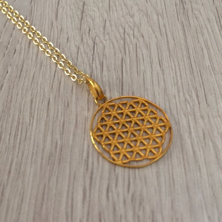 Flower of life sterling silver 925 gold plated by Mownart on Etsy