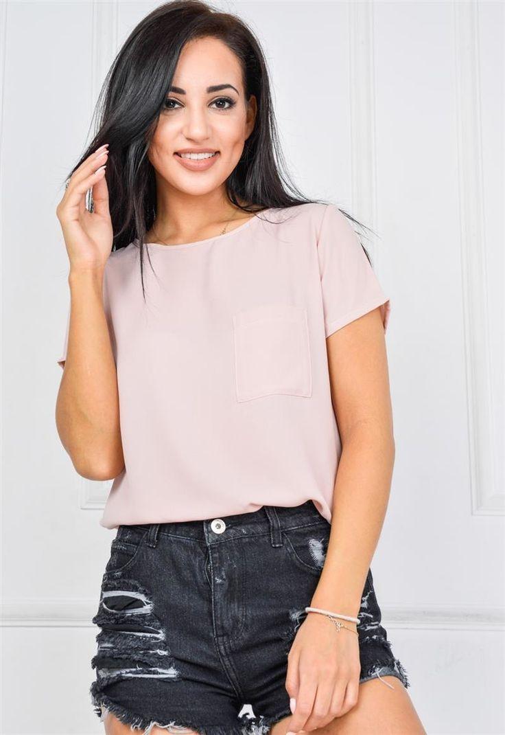 Bluzka koszulowa z krótkim rękawem i kieszonką, Ona Odzież Bluzki | Sukienki.shop