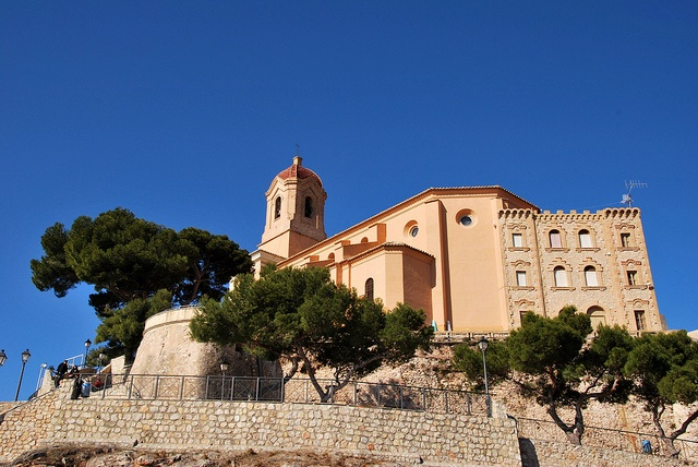 View of the castle of Cullera in a sunny day.