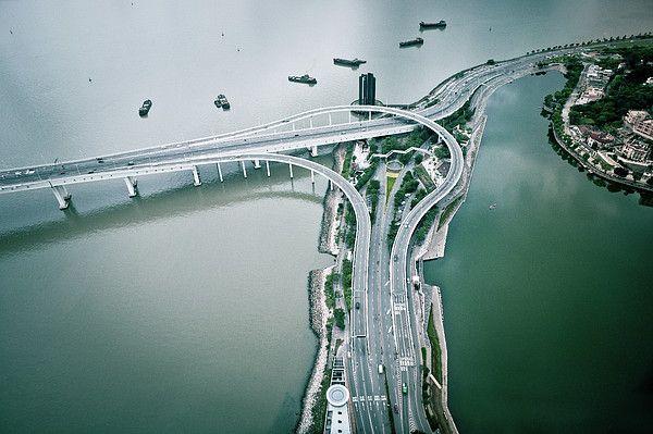 Two Lane Highway in city_ Macau (China)