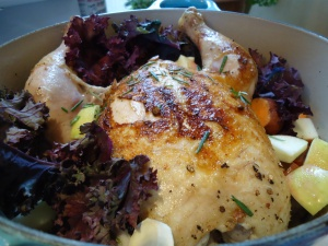 Great cheap and easy dinner: a whole chicken in a pot with vegetables...always moist and yummy.